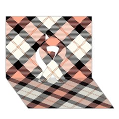 Smart Plaid Peach Ribbon 3D Greeting Card (7x5)