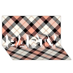 Smart Plaid Peach PARTY 3D Greeting Card (8x4)