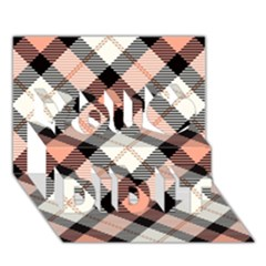Smart Plaid Peach You Did It 3d Greeting Card (7x5)