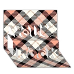 Smart Plaid Peach You Rock 3d Greeting Card (7x5)