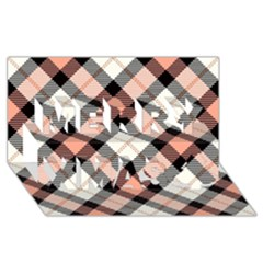 Smart Plaid Peach Merry Xmas 3D Greeting Card (8x4)