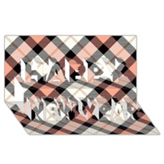 Smart Plaid Peach Happy New Year 3D Greeting Card (8x4)