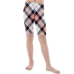 Smart Plaid Peach Kid s Swimwear