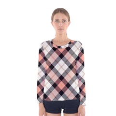 Smart Plaid Peach Women s Long Sleeve T-shirts