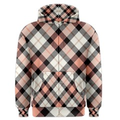 Smart Plaid Peach Men s Zipper Hoodies