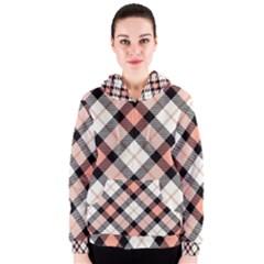 Smart Plaid Peach Women s Zipper Hoodies