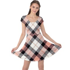 Smart Plaid Peach Cap Sleeve Dresses