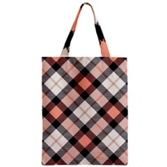Smart Plaid Peach Zipper Classic Tote Bags