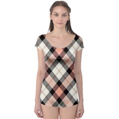 Smart Plaid Peach Short Sleeve Leotard