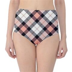 Smart Plaid Peach High-Waist Bikini Bottoms