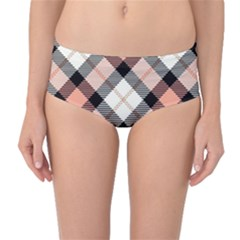 Smart Plaid Peach Mid-Waist Bikini Bottoms