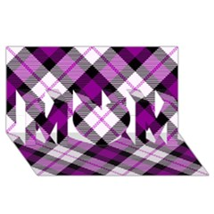 Smart Plaid Purple MOM 3D Greeting Card (8x4)