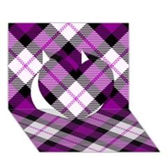 Smart Plaid Purple Heart 3d Greeting Card (7x5)