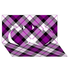 Smart Plaid Purple Twin Hearts 3D Greeting Card (8x4)
