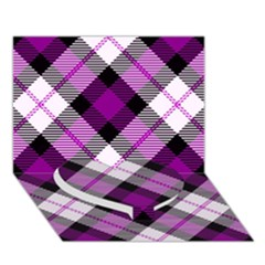 Smart Plaid Purple Heart Bottom 3d Greeting Card (7x5)