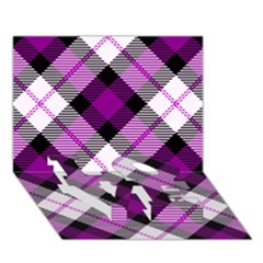Smart Plaid Purple LOVE Bottom 3D Greeting Card (7x5)