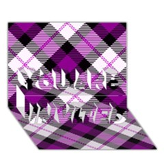 Smart Plaid Purple You Are Invited 3d Greeting Card (7x5)