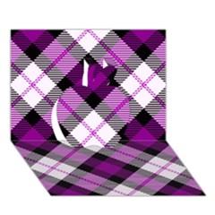 Smart Plaid Purple Apple 3D Greeting Card (7x5)