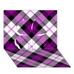 Smart Plaid Purple Clover 3d Greeting Card (7x5)