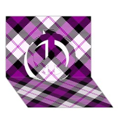 Smart Plaid Purple Peace Sign 3D Greeting Card (7x5)