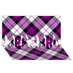 Smart Plaid Purple BEST BRO 3D Greeting Card (8x4)
