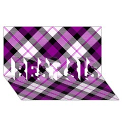 Smart Plaid Purple Best Sis 3d Greeting Card (8x4)