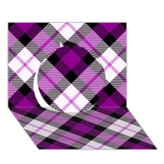 Smart Plaid Purple Circle 3D Greeting Card (7x5)