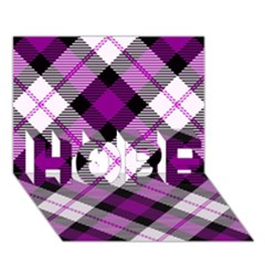 Smart Plaid Purple HOPE 3D Greeting Card (7x5)
