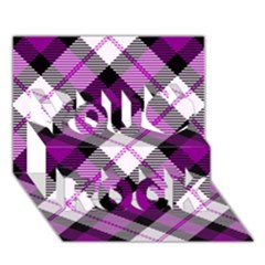 Smart Plaid Purple You Rock 3d Greeting Card (7x5)