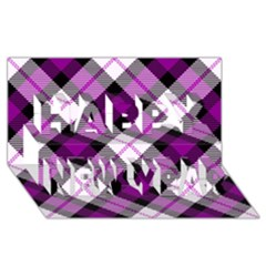 Smart Plaid Purple Happy New Year 3d Greeting Card (8x4)