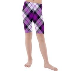 Smart Plaid Purple Kid s Swimwear