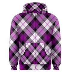 Smart Plaid Purple Men s Zipper Hoodies
