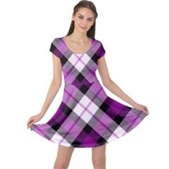 Smart Plaid Purple Cap Sleeve Dresses