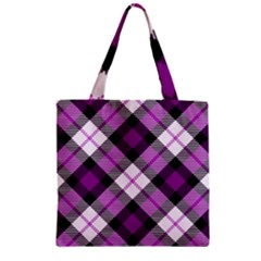 Smart Plaid Purple Zipper Grocery Tote Bags
