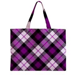Smart Plaid Purple Zipper Tiny Tote Bags