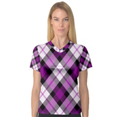 Smart Plaid Purple Women s V-Neck Sport Mesh Tee