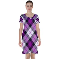 Smart Plaid Purple Short Sleeve Nightdresses