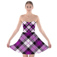 Smart Plaid Purple Strapless Bra Top Dress
