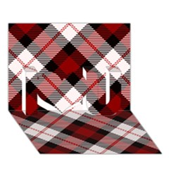 Smart Plaid Red I Love You 3d Greeting Card (7x5)