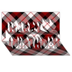 Smart Plaid Red Happy Birthday 3D Greeting Card (8x4)