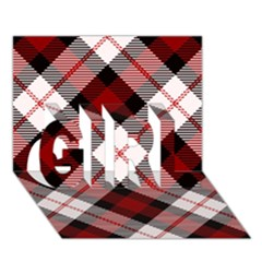 Smart Plaid Red Girl 3d Greeting Card (7x5)
