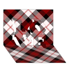 Smart Plaid Red Love 3d Greeting Card (7x5)