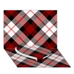 Smart Plaid Red Heart Bottom 3d Greeting Card (7x5)