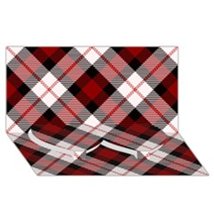 Smart Plaid Red Twin Heart Bottom 3d Greeting Card (8x4)