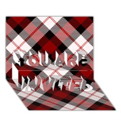 Smart Plaid Red You Are Invited 3d Greeting Card (7x5)