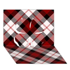 Smart Plaid Red Clover 3D Greeting Card (7x5)