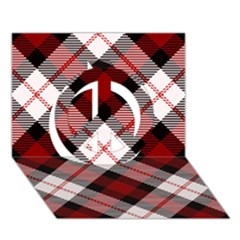 Smart Plaid Red Peace Sign 3D Greeting Card (7x5)