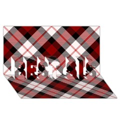 Smart Plaid Red Best Sis 3d Greeting Card (8x4)