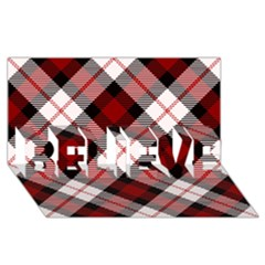 Smart Plaid Red BELIEVE 3D Greeting Card (8x4)