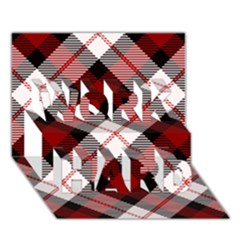 Smart Plaid Red WORK HARD 3D Greeting Card (7x5)